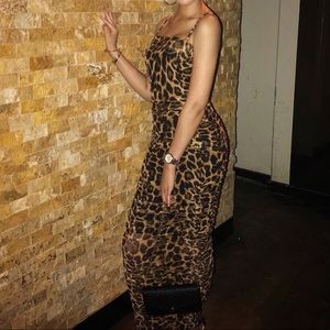 Cheetah Mesh Maxi Dress